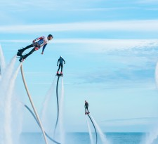 Participants in the Flyboard Record international extreme water sports festival in the Black Sea, Sochi.
