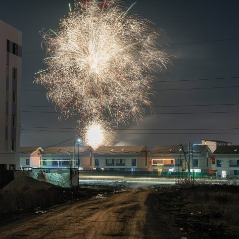 New Years Eve in a new built middle class neighborhood at the edge of Bucharest